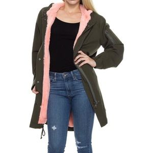 SOLEMIO Olive Green Utility Pink Fur Lined Jacket